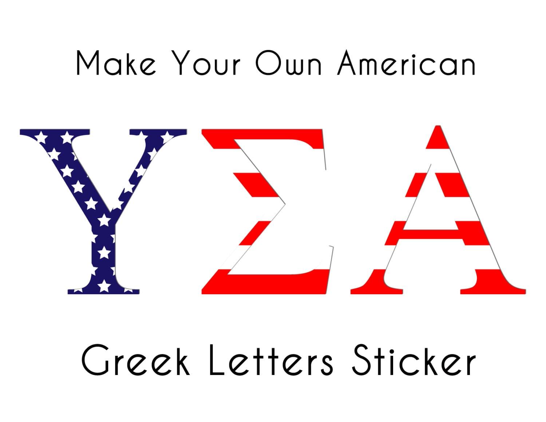 Custom American Flag Greek Letters Sticker By SchnakesStudio