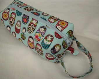 Light Blue Matryoshka Doll Russian Nesting Dolls with Embroidery Inside Pencil Bag Craft Bag Cosmetic Bag Makeup Bag Shaving Kit LARGE