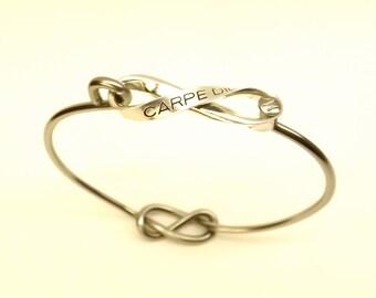 Carpe Diem Bracelet//Carpe Diem Bicycle Bike Spoke Bangle// Stainless Steel Sterling Silver Infinity Knot Bangle Seize the Day Bangle