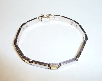 Two Tones Sterling Silver Italy Link Bracelet on Etsy by Apurplepalm