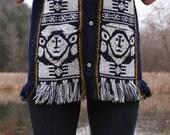 Vintage 70s Tribal Ethnic Mexican Tunic Vest with Fringe Hippie Boho Sleeveless Long Shirt Soft Acrylic