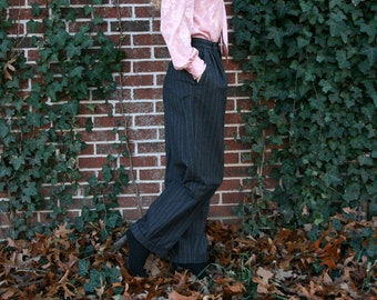 Vintage 80s RALPH LAUREN Pinstriped Trousers S - High Waisted - Menswear Style - Gray Wool