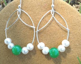 Pigment green and ivory pearls Teardrop earrings