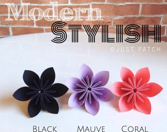 Modern Stylish - Black, Mauve, and Coral - 20 Origami Flowers