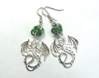 Green dragon earrings, Gothic jewelry, Chainmaille earrings, Green dragon jewelry, Fantasy jewelry