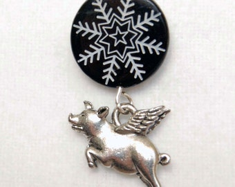 Flying Pig Snowflake Lapel Pin or Tie Tack, When Pigs Fly Tie Tack, Winter Lapel Pin