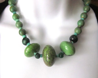 Green Natural Turquoise Necklace Genuine Turquoise Beaded Stone Jewelry