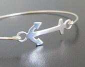 Sterling Silver Anchor Bracelet, Women's Nautical Jewelry, Anchor Jewelry, Sterling Anchor Bracelet, Sterling Bangle, Nautical Bracelet