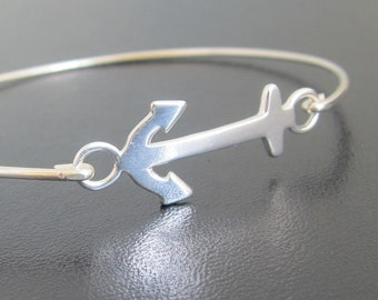 Women's Anchor Bracelet in Sterling Silver, Bangle Charm Bracelet, Nautical Gift Idea for Her