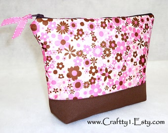 Pink and Brown Flowers - Ladies Zip Pouch (Medium)