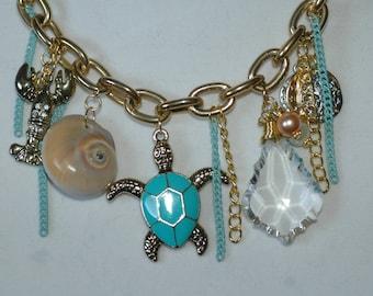 Chunky Sea Life Charm Necklace , Ocean Charm Necklace , Beach Charm Necklace , Sea Shells Necklace