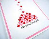 Happy Valentines Day card, I Love You Bunches, Wedding Anniversary, tiny hearts, simple love card, paper anniversary, red white pink