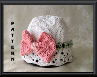 Knitted Hat Pattern Baby Hat Pattern Newborn Hat Pattern Knitting Pattern for Baby Hat - White Lace Cloche with Bow Pattern: BIG PINK BOW