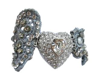 Silver lace bracelet. bridal bracelet. one of a kind bridal jewelry.