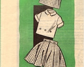 On Sale - 1960s Girls Full Pleated Skirt, Blouse and Jerkin Sewing Pattern Size 8