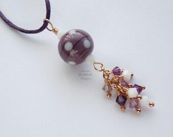 Amethyst Polka purple lampwork necklace, purple and white necklace, lampwork necklace