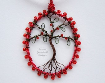 Ruby red tree pendant, wire tree pendant, tree of life pendant, red tree necklace