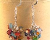 "Cluster of Cubes Earrings, Millifore Glass Earrings, Wire Wrap Earrings, 1 1/2"" Earrings, Statement Earrings, Dangle Earrings, FREE SHIPPING"