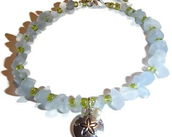 Beach Glass Anklet. Beach Anklet. Sea Glass Jewelry. Beach Jewelry. Blue. Green. Sand Dollar