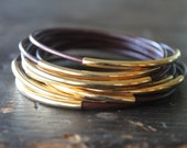 Marsala Oxblood Leather and Gold Stacking Bangle Set - Maroon Brown Burgundy Very Dark Red - Red Red Wine