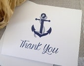 Custom Thank You Notes ( Set of 25) / Thank you Card/ Wedding Thankyou Card/ Personalized Nautical- Anchor Thank you Note