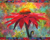 Cone Flower Art Quilt Pattern by Lenore Crawford