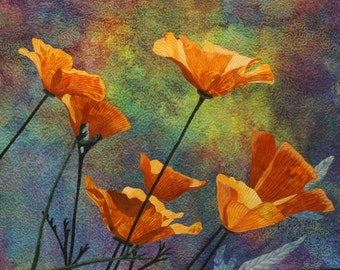 Yellow Poppies Art Quilt Pattern by Lenore Crawford