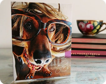 MOTHERS DAY Card Simply Stated Mom Dachshund Card Blank Inside