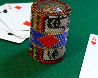 Beadwork dealer trump marker mens gift ideas man cave stuff card game supplies Pinochle Canasta Poker supplies Bridge decorative paperweight