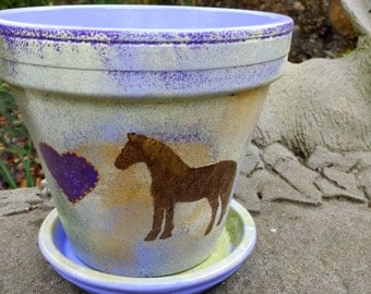 Painted Flower Pot with Horse - Horse Lover Gift - Rustic Purple and Gold