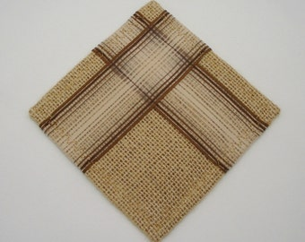 4 Burlap Coasters with Ribbon Applique, Brown Shabby Chic Table Decor, Housewarming Gift, original FFT design, Set of 4