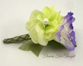Purple Lisianthus Boutonniere with Green Hydrangea, Grooms Lapel Flower Pin, Buttonhole Bloom, Made to Order