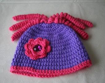 6-12 months crochet baby girl hat purple pink with flower corkscrew gift idea baby shower newborn birthday handmade acrylic