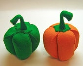 Wool Felt Play Food - Two Bell Peppers - Waldorf Inspired Pretend Kitchen or Market Place Accessory for Imaginative Play