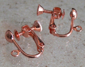 Copper Adjustable Screwback Clip-On Earrings 2 Leverback Brass Ear Wire