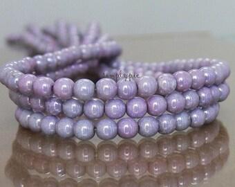 100 Luster Opaque Amethyst Czech Glass Beads 4mm Round Druk