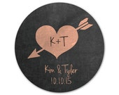 Personalized Wedding Stickers - Chalkboard Stickers - Custom Labels - Initials - Heart Design - Rustic Wedding Stickers - Choose Your Colors