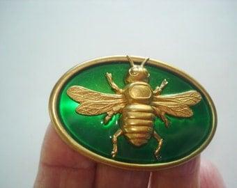 Bee Brooch Emerald Green Gold Tone