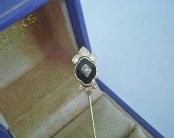 Stick Pin Clear Stone Gold Tone
