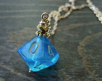blue D10 dice pendant dungeons and dragons pendant mint dice teal pendant D10 translucent pendant turquoise dice jewelry transparent geek