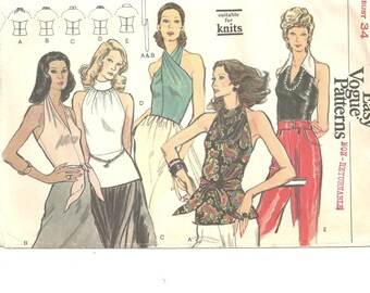 Vogue 8440 Blouses size 12 variety 5 styles vintage 60s - 70s