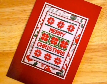 Printed Version of my Handmade Cross Stitch Christmas Greetings Card
