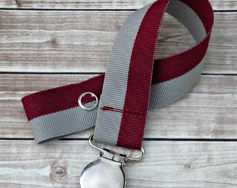 Baby Boy Pacifier Clip- Burgundy & Gray- Paci Clip- Baby Shower- Baby Girl Pacifier Clip- Baby Shower Gift