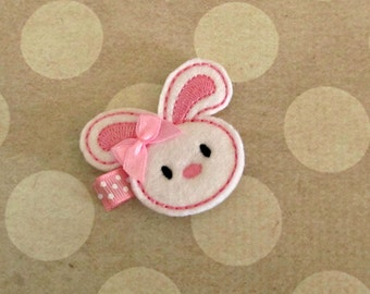 White Easter Bunny Hair Clip- Baby Hair Clip- Toddler Hair Clip- Felt Hair Clip- Hair Clippie- Doll Hair Clip