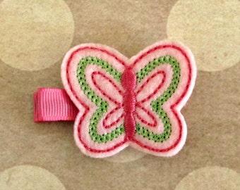 Baby Girl ButterflyHair Clip- Baby Hair Clip- Toddler Hair Clip- Felt Hair Clip- Hair Clippie- Doll Hair Clip- Spring Summer Hair Clip