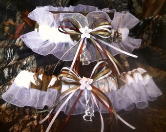SNOW CAMO realtree wedding garter SET-redneck-prom-fun