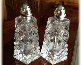 Tall Elegant Cut Glass Crystal Salt and Pepper Shakers Ribs Diamonds Stars Etched Rays Polished Base
