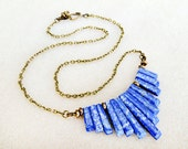 Lapis Lazuli Angular Necklace on Golden Aged Brass Chain, Simple Stones, Blue, Cobalt Blue, Handmade Necklace, Jewelry for Women and Teens