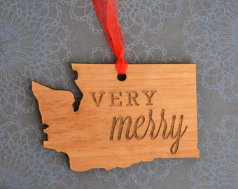 VERY MERRY Engraved Washington Ornament
