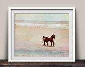 Iron Horse on Sandy Beach Photographic Art Print | Prop On the Beach | Imaginery Beauty | Horse Trot | Wall Decor